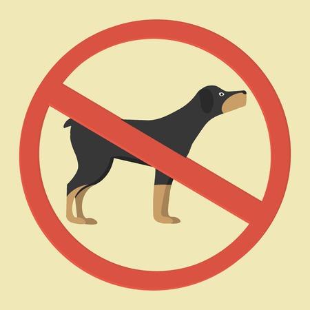 illegal zone: No dog realistic sign, illustration Illustration