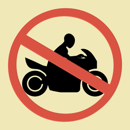 illegal zone: No motorcycle sign with motorcycle silhouette