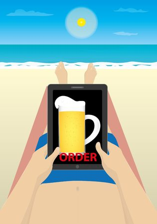 short trip: Cartoon illustration of a man using computer tablet on the beach with beer image in it.