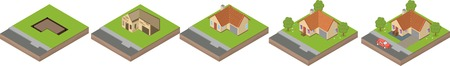 house building: House building process. Isometric illustration of house construction. Five stages.
