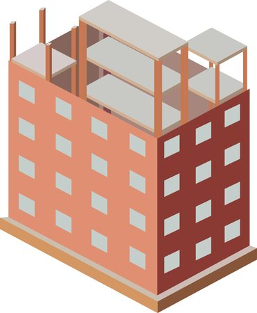 house construction: Isometric house construction. Skyscraper building process. Illustration