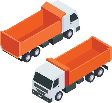 refrigerated: Isometric cargo truck. Orange truck isometric isolated illustration.