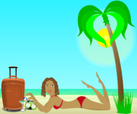 hot woman: Girl lie with suitcase and underwater glasses on a tropical beach Illustration
