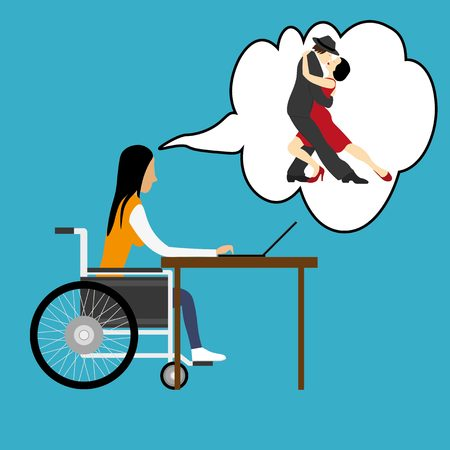 dreaming girl: Disabled girl in wheelchair dreaming about dancing tango Illustration