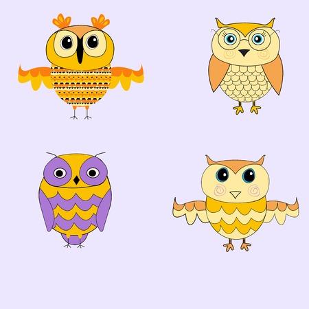 pirate crew: Set of cartoon owls. Yellow owls. Purple owls. Illustration