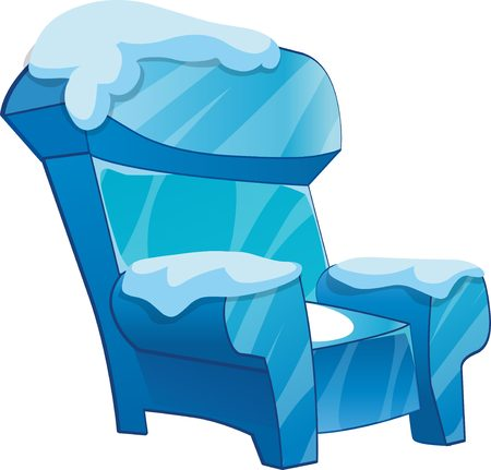 frozen fish: Ice chair with snow. Cartoon chair isolated vector illustration.