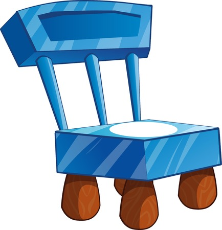 frozen fish: Ice chair with snow and wooden legs. Cartoon chair isolated vector illustration.