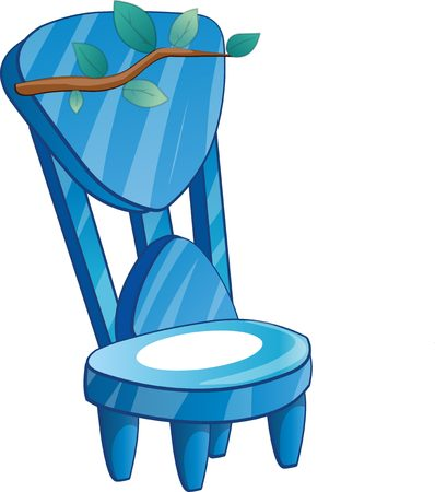 frozen fish: Ice chair with snow and tree branch. Cartoon chair isolated vector illustration.