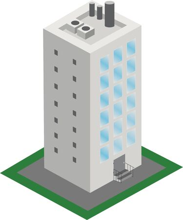comercial: A vector illustration of a classic office building.  Isometric building icon.