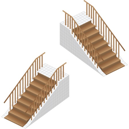 Isometric stairs. Wooden stairs with railing and platform. Illustration