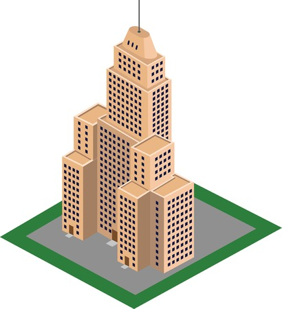 A vector illustration of an isometric high-rise building skyscrapper.