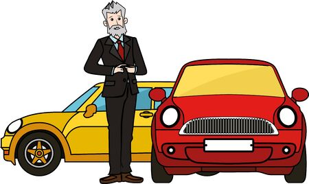rarity: Boss senior man standing by luxury cars