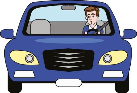 Business man driving blue car