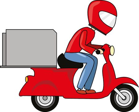 Delivery Boy Ride Scooter with big box. Fast transportation. Illustration
