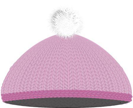 winter hat: Knitted pink cap, winter hat wim pumpon