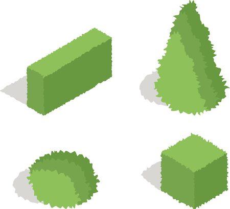 vector element: Set of four isometric bush