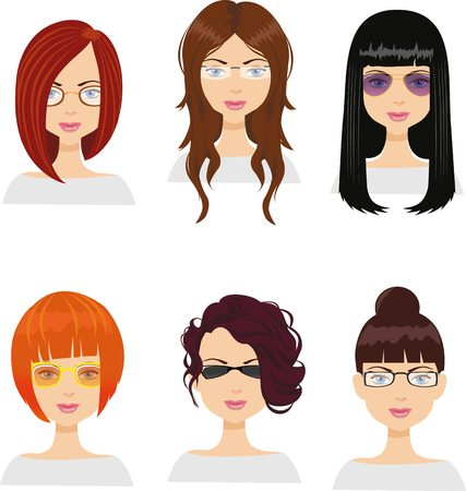 haircuts: Girl avatars with different haircuts and glasses