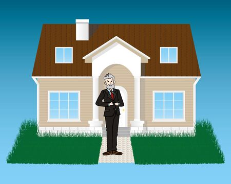 bought: Happy senior businessman bought house. Realistic vector image.