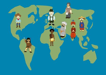 World Map and people in traditional costumes. World nations: american, indian, russian, chinese, german, arabic, african. Illustration