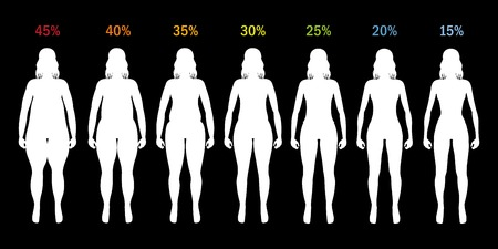 Fat percent of girl from fat to slim silhouette Illustration