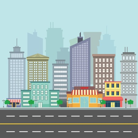 city view: City street view with buildings and skyscrappers