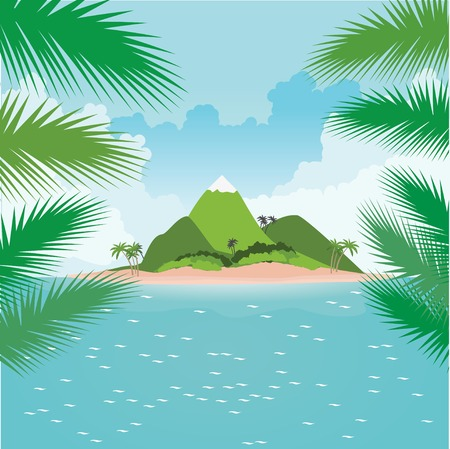thatched: Tropical island in ocean with palms. View through palm leaves. Illustration