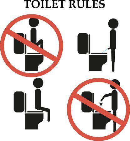 Toilet regels: stap niet op het toilet teken