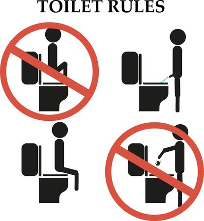 a toilet stool: Toilet rules: do not step on the toilet sign
