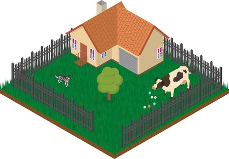 abstract building: Isometric village house with fence, tree, cow and dog
