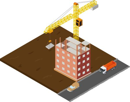 purchasing power: Isometric house construction with truck and crane