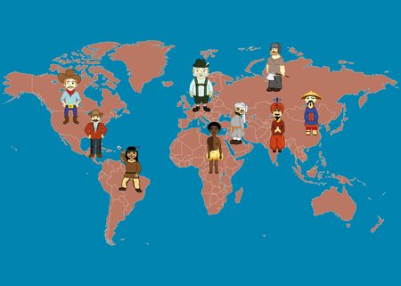 worldmap: World Map and people in traditional costumes. World nations: american, indian, russian, chinese, german, arabic, african, latino.
