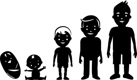 Boy ageing silhouettes from baby to teen.