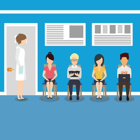 hospitalization: Hospital and healthcare. Patients waiting for doctor. Illustration
