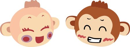 abstract gorilla: Chinese Zodiac - female and male Monkey Faces.