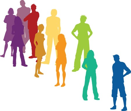 social gathering: International group of people: color crowd