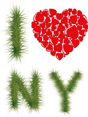 ny: I love NY. New Year font style. Illustration