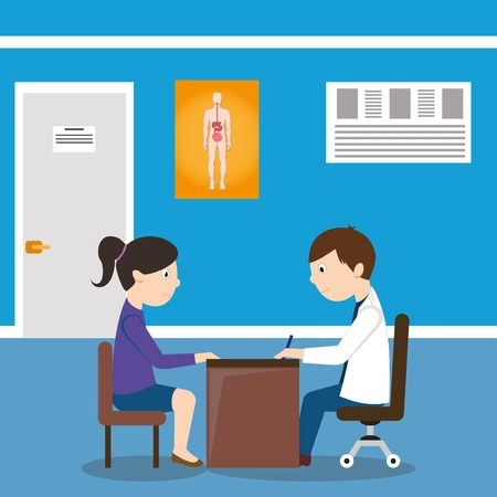 outpatient: Male doctor health consultation with woman in hospital