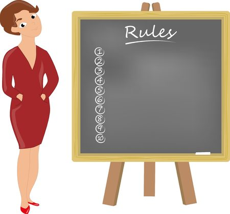 formally: Teacher formally dressed woman with blackboard shows Rules