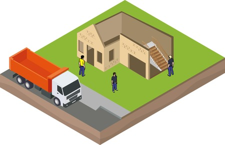 unfinished: Isometric unfinished brick house construction with truck and builders
