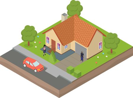 backyard: Isometric house with backyard, car and family