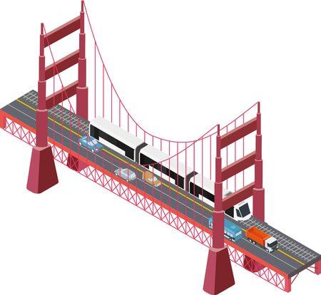 steel bridge: A illustration of a large isometric suspension bridge with cars, trucks and train. Illustration
