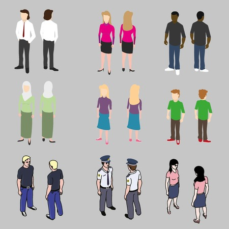 men and women: Isometric icons set of different people: men, women, children Illustration