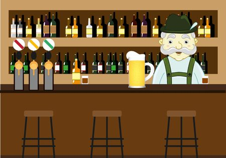 mustached: Beer pub with counter, bar chairs and mustached bartender