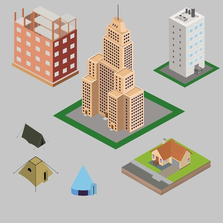 modular home: Set of different isometric houses: skyscraper, village house, downtown building, tents