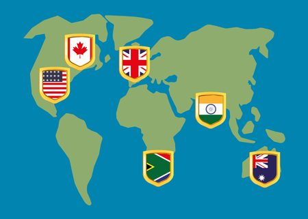 circling: English speaking countries on the map Illustration