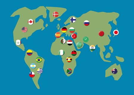 tour guide: Map world with biggest country flag badges Illustration