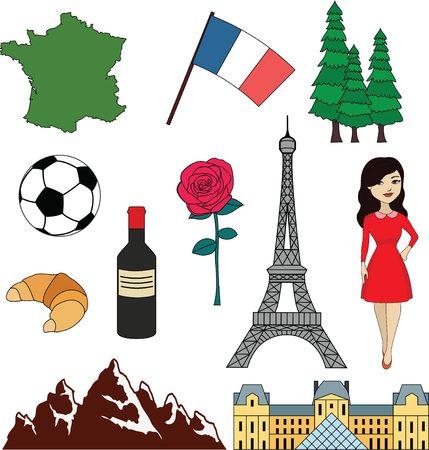 frenchman: France items set: flag, land, wine, Paris tower Illustration