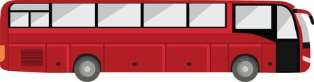 small group of objects: Touristic bus isolated. Red big bus.