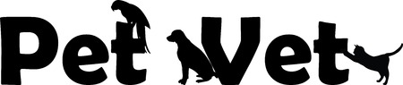 Veterinary Hospital pet vet with dog, cat and parrot silhouette