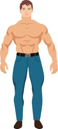 ?artoon image of a muscular man with brown hair in jeans. Bodybuilder fitness trainer.